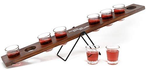 com-four® Schnaps-Wippe mit 8 Trinkgläsern, Getränke-Wippe aus Holz mit Schnapsgläsern aus Glas, 60 x 10,5 x 9,5 cm