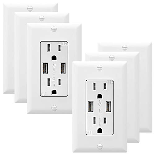 TOPGREENER 4.8A High Speed USB Wall Outlet, 15A Tamper-Resistant Receptacles, Compatible with iPhone XS/MAX/XR/X/8/7, Samsung Galaxy S9/S8/S7, LG, HTC & Other Smartphones, UL Listed, TU21548A, 6Pack