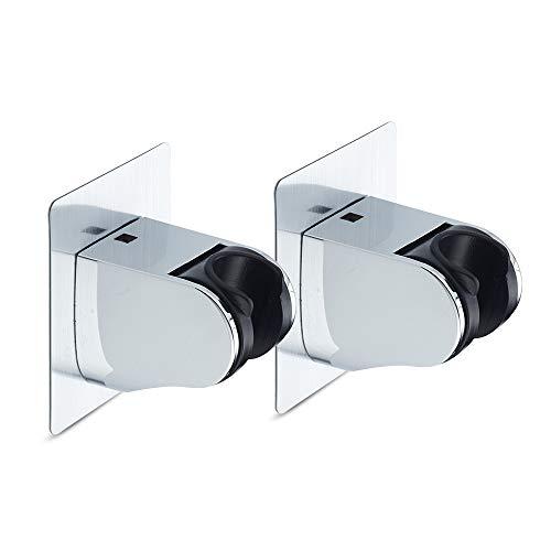 XGzhsa Soportes para cabezal de ducha, soporte de ducha de montaje en pared, 2 soportes de ducha de montaje en pared ajustables para cabezal de ducha de mano con disco adhesivo sin perforaciones