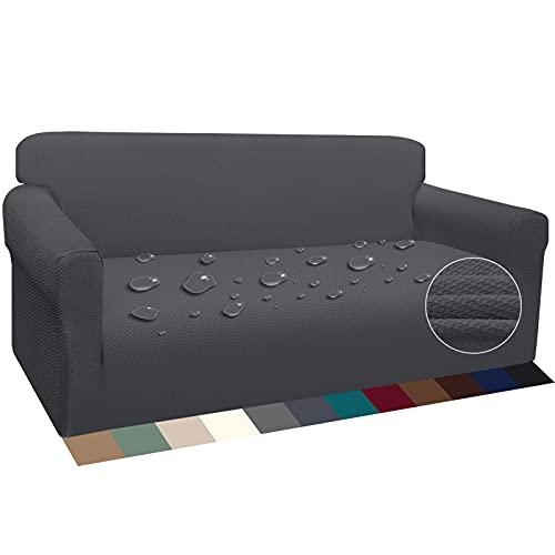 Luxurlife Wasserdicht Sofabezug 3 Sitzer Verdickte Stretch Sofahusse Hunde und Katzen Rutschfester Möbelschutz mit Schaumstangen für Wohnzimmer Anti Rutsch (3 Sitzer,Grau)