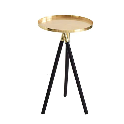 JDJD Metal Round Coffee Table Solid Wood Legs Living Room End Table Modern Side Table End Table
