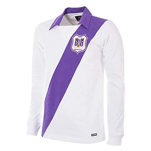Copa Herren RSC Anderlecht 1962-63 Retro Fußballtrikot Retro Fußballkragen T-Shirt L violett/weiß