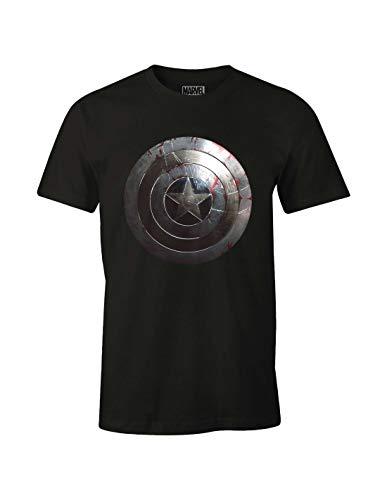 Marvel CAPTAIN SHIELD SILVER T-shirt Homme Noir (Noir) Large (Taille fabricant: L)