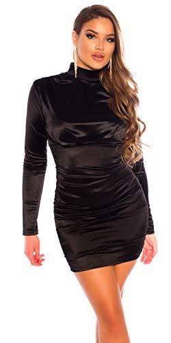 Koucla Damen Kleid Minikleid Party Satin Look Stehkragen gerafft (Schwarz, x_l)