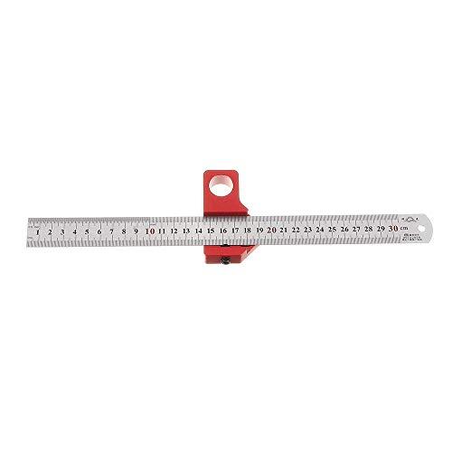 KAIBINY Llave de Kit de la carpintería de acero inoxidable de 30 cm ajustable 45/90 Grado Línea Scriber ángulo regla en pulgadas y métricas Posicionamiento magnética herramienta de medición de la made