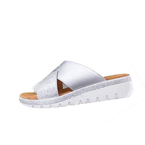 Yvelands Mujeres Zapatos de Sandalias de Fondo Grueso Sandalias de tacón de cuña Zapatos de Playa de Verano con Punta de Clip(Plata,40)