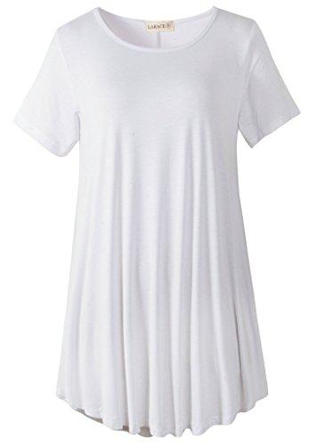 LARACE Women Short Sleeves Flare Tunic Tops for Leggings Flowy Shirt (1X, White)