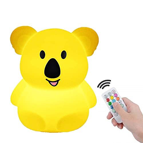 Koala Luz de noche ,Luz de noche para niños,Luz de noche para bebé ,Anti caída- portátily USB recargable - lámpara infantil LED multicolor con mando, luz bebe Silicona suave y lavable - Grande Koala