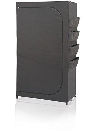 Leifheit textiler Kleiderschrank schwarz, mobile Kleiderstange aus abwaschbarem Stoff, stabiler Organizer zur Aufbwahrung von Kleidung, schützt vor Staub, Regalsystem mit 16 Außentaschen für Schuhe