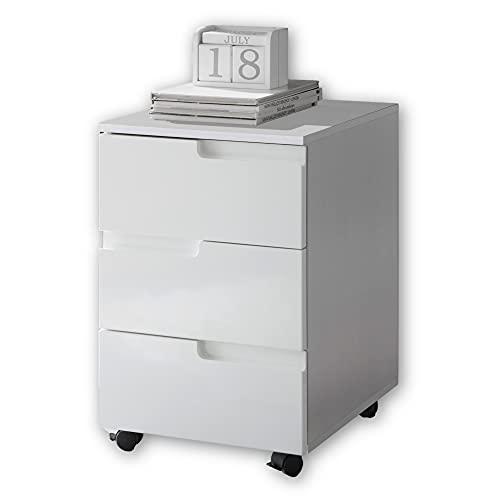 Stella Trading SPICE Rollcontainer Schreibtisch in Hochglanz Weiß - Mobiler Büroschrank mit Schubladen - Modernes Büromöbel Komplettset - 40 x 60 x 45 cm (B/H/T)