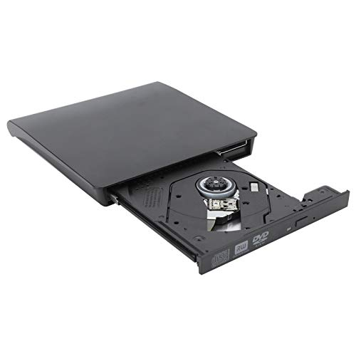 143 External Optical Drive External DVD Drive,Dual‑Port TYPE‑C USB3.0 Portable CD/DVD+/-RW Drive/DVD Player,for Laptop Desktop PC Windows Linux OS Apple Mac Black(Burn)