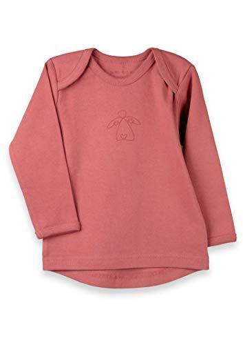 Organic by Feldman T-shirt à manches longues 100% coton bio Interlock | Certifié GOTS | avec col extensible à l'arrière | Ange de protection imprimé Marsala rouge naturel 86/92