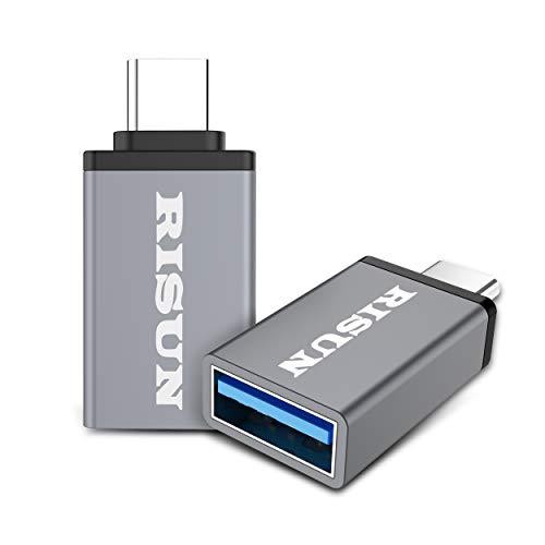 RISUN - Adaptador USB C tipo C, 3 unidades, USB 3.0, convertidor OTG de aluminio, USB A hembra a USB C macho para MacBook, Chromebook Pixel, Nexus 5X, Nexus 6P y más dispositivos USB tipo C