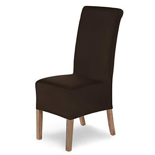 SCHEFFLER-Home Stuhlhussen Stretch Lena / Stuhlhussen 6er Set braun/ Dehnbare Stuhlhussen Hochlehner als Stuhlabdeckung / Stuhlhussen Schwingstühle als Stuhl Überwurf / Stuhl Bezug waschbar