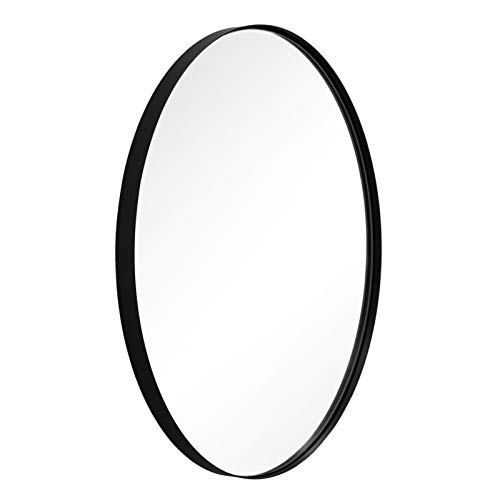 ANDY STAR Oval Wall Mirror | 22x30x1'' Modern Black Bathroom Mirror with Stainless Steel Metal Frame 1'' Deep Set Design