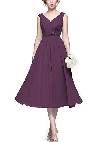 Lover Kiss Flowy Pleat Chiffon Bridesmaid Dresses A Line Elegant V- Neck Wedding Guest Gown Tea Lenght Foraml Dress B040 Plum