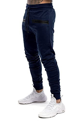 Atergens Pantalones de deporte para hombre, de algodón, con bolsillos con cremallera, marine, XL