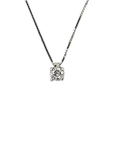 Luciani Collana punto luce in oro bianco 18 Kt e diamante da 0,40 ct