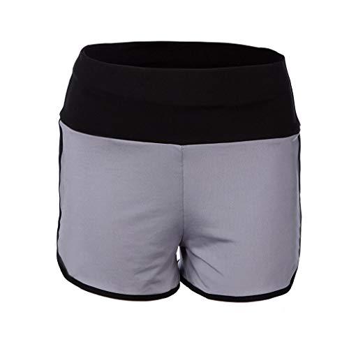 Cwemimifa Damen Badeshorts Bikinihose Wassersport Hotpants Verstellbare Kordel Bände Schwimmshorts, Frauen Yoga Sport Laufhose Cropped Leggings Kurze Hose Stretch Hose, Grau, XL