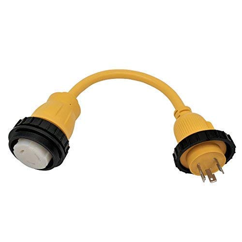 Amp Up Marine & RV Cords 125v 30 Amp Male x 125v 50a Amp Female Marine Shore Power Pigtail Boat Adapter
