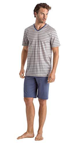 Hanro Herren Madu Short Sleeve Pajama Pyjama Set, Matrosenstreifen, Small