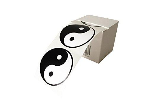 EAST-WEST Trading GmbH 50 x Yin-Yang Aufkleber, Etiketten, Yinyang Sticker, Durchmesser 5 cm, in praktischer Spenderbox