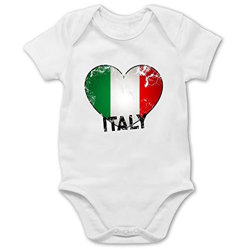Städte & Länder Baby - Italien Herz Vintage - 1/3 Monate - Weiß - Italien Trikot Baby - BZ10 - Baby Body Kurzarm für Jungen und Mädchen