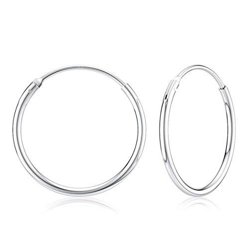 DOOLY Pendientes de aro Circulares de Plata de Ley 925 de 14-35mm para Mujer, Fiesta de cumpleaños, Simple, Noble, Plata 925, Regalo de joyería Fina