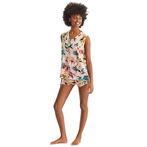 PROMISE Pijama Abierto de Mujer Estampado Floral N11092 - Rosa, XXL