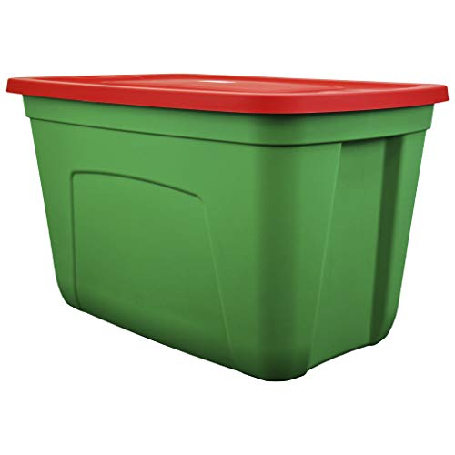 SIMPLYKLEEN 4-Pack Christmas Storage Totes with Lids (Red/Green), 18-Gallon (72-Quart) Xmas Bins, 25.72' x 16.98' x 15.1' Holiday Organizer, Plastic Storage Containers