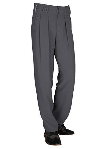 HK Mandel Bundfaltenhose mit Extraweit geschnittene Beine Hose in Grüngrau Fifties Herren Mode Model Boogie Größe 62
