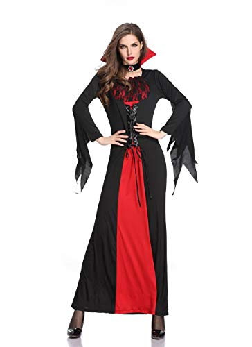 LATH.PIN Costume da Strega Donna - Cosplay Vampiro Vestito Lungo Halloween Carnevale Oversize Abito Manica Lunga (M, Nero)
