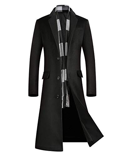 ebossy Men's Wool Blend Full Length Overcoat Single Breasted Long Coat with Flap Pocket (Large, Quilted Black)