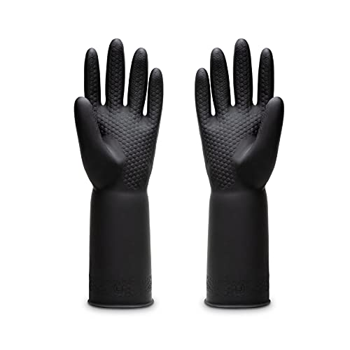 Uxglove Chemical Resistant Latex Gloves,Cleaning Protective Safety Work Heavy Duty Rubber Gloves,12.6',Black 1 Pair Size Large