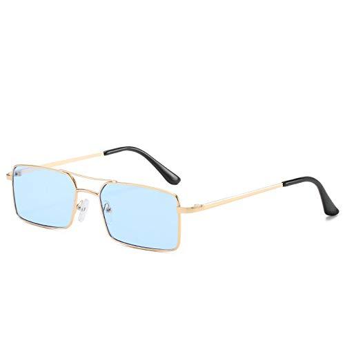 YOULIER Retro Small Square Gafas de sol Moda Personalidad Hombres y Mujeres Tendencia Gafas De Sol Transparente Ocean Film Gafas De Sol Uv400 5695-6