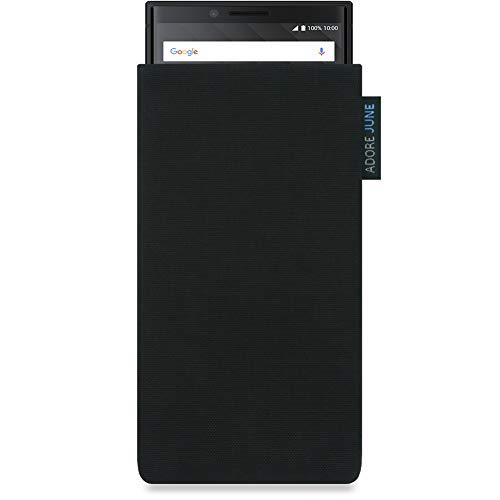 Adore June Classic Schwarz Tasche für BlackBerry Key2 & BlackBerry Key2 LE Handytasche aus widerstandsfähigem Cordura Stoff | Robustes Zubehör mit Bildschirm Reinigungs-Effekt | Made in Europe