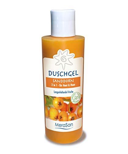 MeraSan 2in1 Duschgel & Haarshampoo Natural - vegane Naturkosmetik mit Sanddorn-Öl und Rügener Heilkreide für Haut und Haar - 200ml