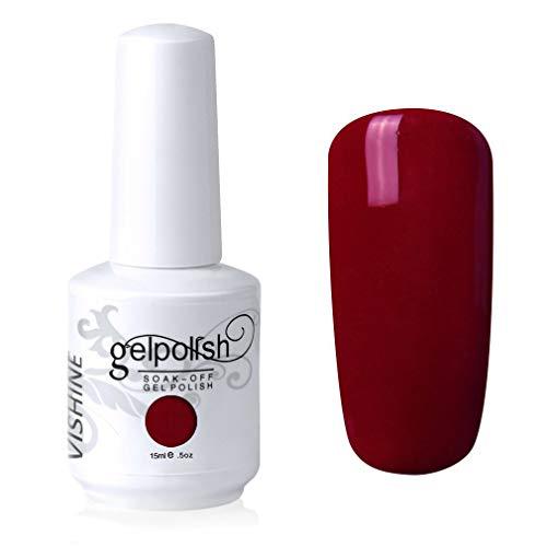 Vishine Vernis à ongles Semi-permanent Soak Off UV LED Gel Polish Diy Manucure Dark Crimson(476)