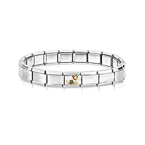 AKKi jewelry Glieder Armband Classic 2 er Set Angebot - in Edelstahl Italy Italian Charms mit anhänger schmuck composable kompatibel Hund