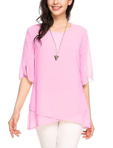 Zeagoo Women's Chiffon Blouse 3/4 Bell Sleeve Loose Dressy Tops Shirt Pink
