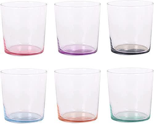 Set de 6 Vasos de Agua de Colores Pastel, Vasos de Cristal Multicolor, 345 ml de Capacidad