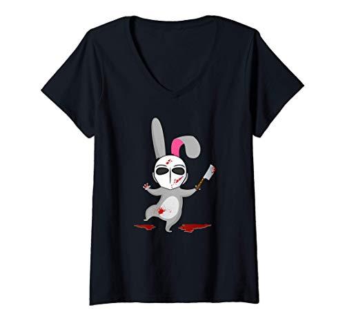 Mujer Conejo Asesino - Animal lindo y sangriento Camiseta Cuello V