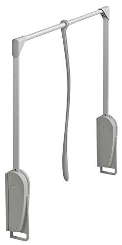 Gedotec Schrank-Lift mit Soft-Close Dämpfung Wardrobelift für Wandmontage Kleiderlift Kleiderstange | Kleiderlüfter klappbar grau | breitenverstellbar 620-950 mm | 1Stück