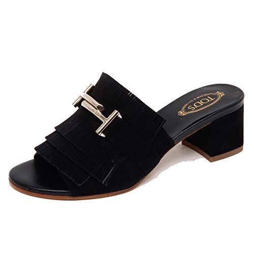 Tod's F3232 Sandalo Donna Black Scarpe Sandal Suede Shoe Woman [36]