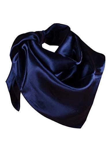 Letuwj Foulard en Soie Satin Imprimé Femme Bleu Marin Taille Unique