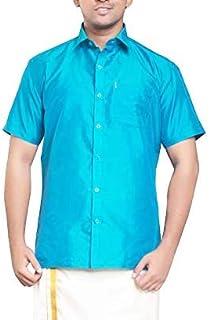 RIRO Focus Men's Plain Silk Cotton Traditional/Ceremony/Formal Half Sleeve Shirt,Sky Blue