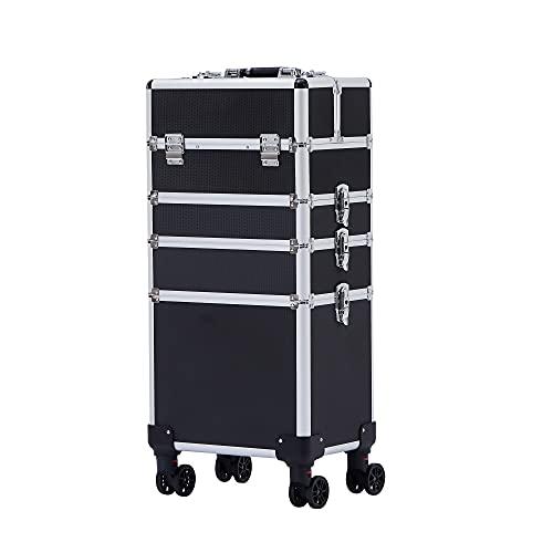 Arebos | maletín de cosméticos | maletín de Maquillaje Profesional | maletín de Maquillaje 3 en 1 para Viajar | con Cierre | con Ruedas universales giratorias de 360° | Negro