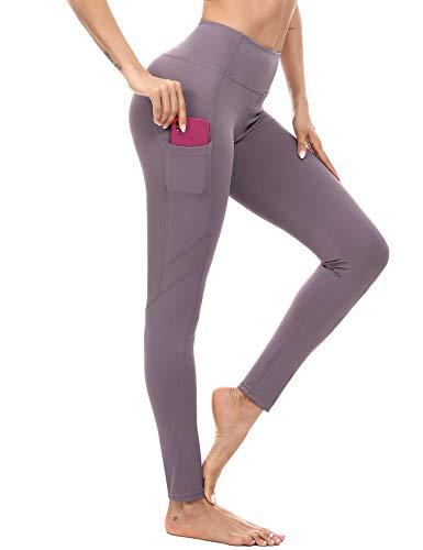Akalnny Leggins Deportivos Mujer Cintura Alta Pantalones Deportivos Mallas Pantalones con Bolsillos para Running Training Fitness
