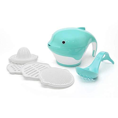 Yiyu Vielseitige Babynahrungsmaschine Set Kleinkindfuttermühle Mit Maische Schüssel Obst Gemüse Stampfer Hand Stampfer Zitrus Entsafter Reibe x (Color : Blue)