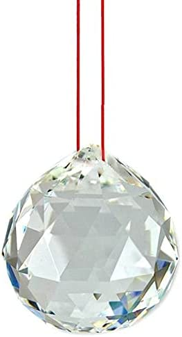 Fengshui Mail order cheap Clear Crystal Hanging Ball with Thread for wholesale Luc Red Good